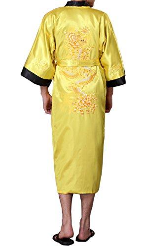 SexyTown Long Satin Lounge Bathrobe Classic Print Kimono Robe Nightgown X-Small, Yellow-Black(Reversible)