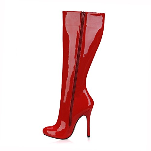 Boot Ladies boots head high round varnished High heels new winter leather red Pd7vcqxH