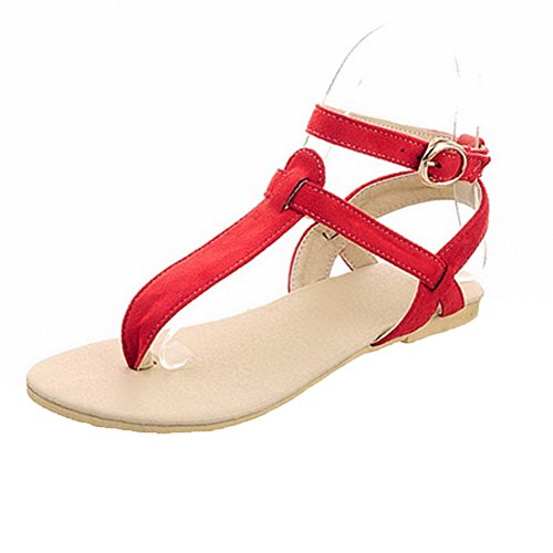 AalarDom Womens Buckle Split-Toe Low-Heels Frosted Solid Sandals Red