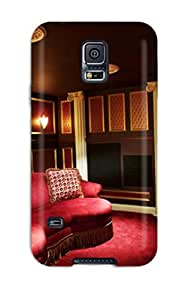 New Style Case Cover ZwXoRiX1865YvGmz Basement Home Theater With Burgundy Seating Compatible With Galaxy S5 Protection Case