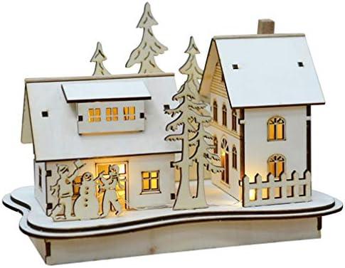 Wooden LED Light Up Christmas Scene 3D Effect Ornament Xmas Gift Home Decor NEW