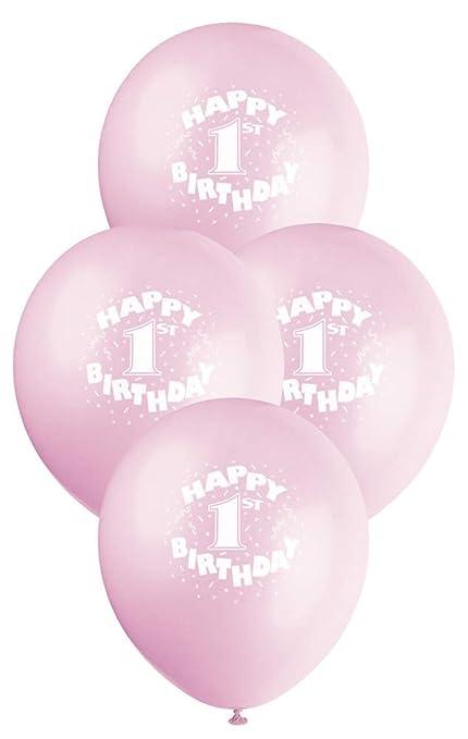 12 Latex Pink Happy 1st Birthday Balloons 6ct