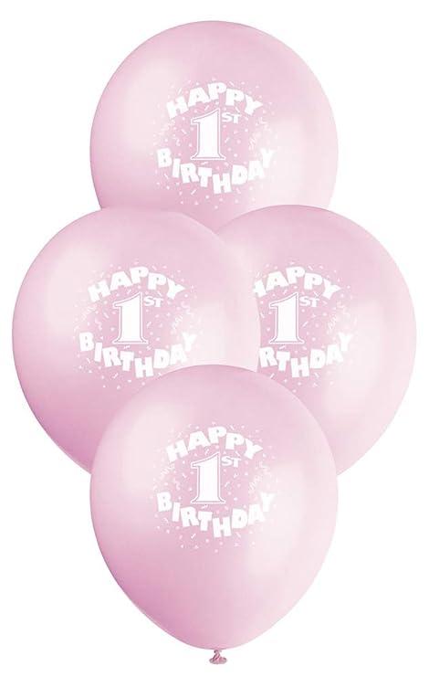 "12"" Latex Pink Happy 1st Birthday Balloons, 6ct"