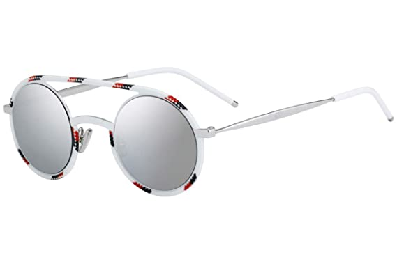e797bb4046 Christian Dior Homme DiorSynthesis01 Sunglasses White Redpo w Grey Silver  Mirror Lens 43mm T2G0T Dior