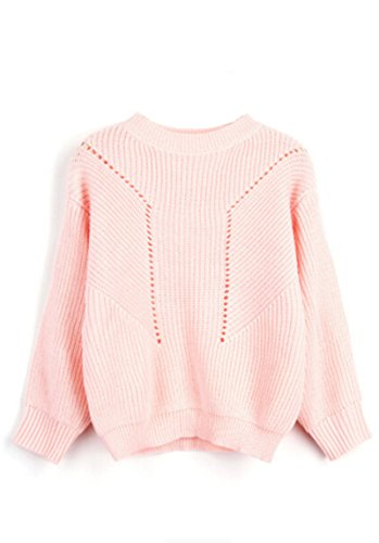 YOURNELO Women's Simple Solid Color Hollow-Out Jersey Pullover Sweater (Pink)