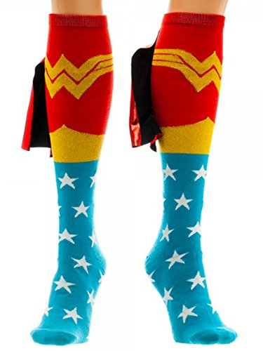 Superhero Outfit Women (Wonder Woman Cape Knee High Socks 1 x 1in)