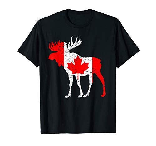 Love Canada Moose Funny T-Shirt Tee Pride Maple Flag - Moose Canada