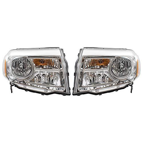BROCK Pair Set Halogen Combination Headlights Headlamps Replacement for 12-15 Honda Pilot 33150SZAA11 33100SZAA11 ()