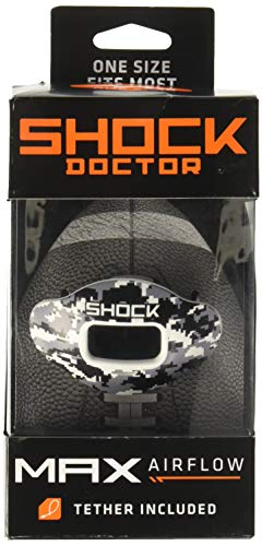 Shock Doctor Max Airflow Lip Guard, Football Mouth Guard w/ Detachable Helmet Strap