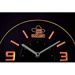 Time2LightUp Bud Light George Strait 10 Inches Circle Led Illuminated Wall Clock Yellow