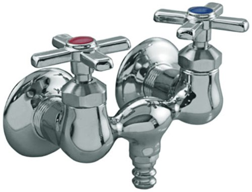 Aqua Plumb 1823 3-3/8-Inch Two-Handle Polished Chrome Type''3'' Bathcock with Barbed Spout For Outlet by Aqua Plumb