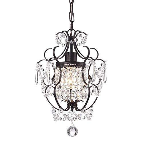 - Edvivi Amorette 1-Light Antique Bronze Finish Mini Pendant Chandelier Wrought Iron Ceiling Fixture | Glam Lighting