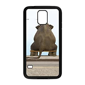 Custom Cover Case with Hard Shell Protection for SamSung Galaxy S5 I9600 case with lonely elephant lxa#278270