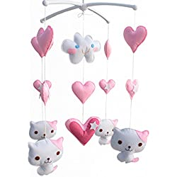 Baby Gift Mobile, Pretty Decor [Cute Cats, Pink] Infant Musical Mobile