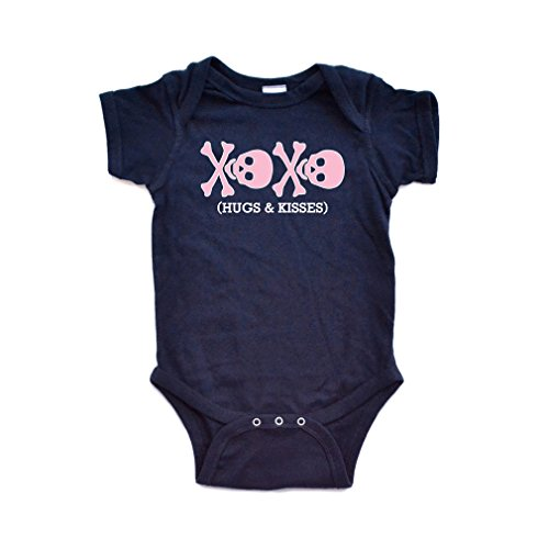 Apericots Adorable Pink Skull XOXO Hugs Kisses Baby Girl Cute Punk Rock Bodysuit