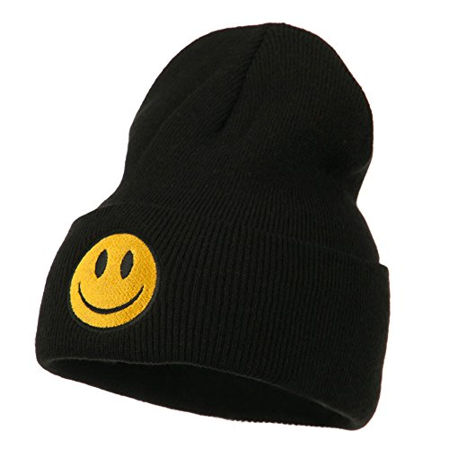 Happy Cap Face (E4hats Smiley Face Embroidered Long Beanie - Black OSFM)