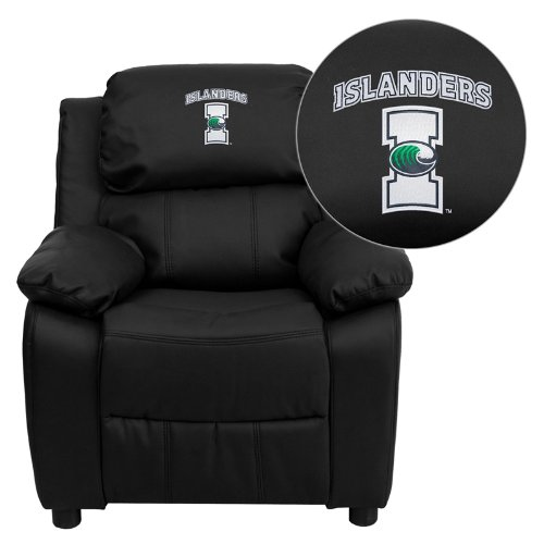 Flash Furniture Texas A&M University - Corpus Christi Islanders Embroidered Black Leather Kids Recliner with Storage - Team Nba Recliner Home