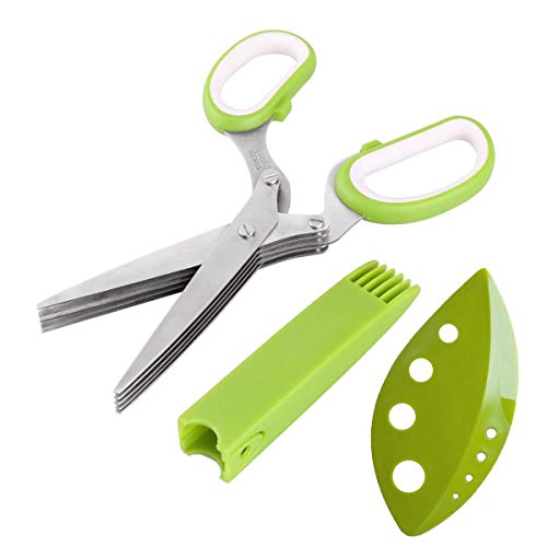 Cut Brush Fringe (All Prime Herb Scissors - Multipurpose 5 Blade Stainless Steel Shears – Protective Guard Cover & Blade Cleaner – FREE Herb Stripper & Recipe E-Book)