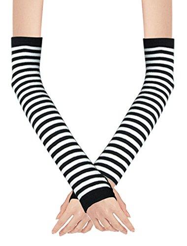 Black Striped Fingerless Gloves (Stylish Winter Warm Black White Striped Long Fingerless Gloves)