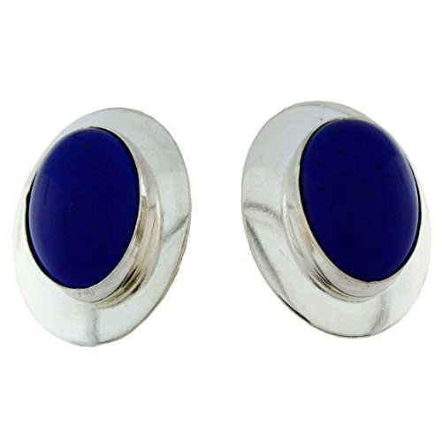 (Sterling Silver Genuine Stone Post Earrings, Lapis)