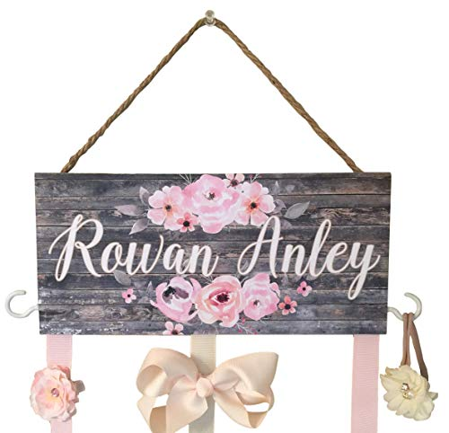 Hair Bow Holder for Walls, Hooks for Headbands and Jewelry, Personalized Hair Bow Holder, Farmhouse Decor, Rustic Baby Nursery, Personalized Baby Shower Gift, Organizer, Hair Bow Holder