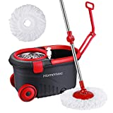 Homemaxs Spin Press Mop Bucket, Spin Self-Wringing Mop & Bucket System with Wheels