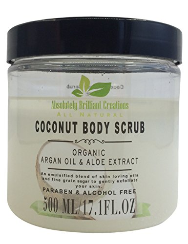 Sugar Body Scrub with Coconut Oil, Argan Oil & Aloe - All Natural Scrub to Exfoliate & Moisturize Skin - Alcohol & Paraben Free, 500 mL