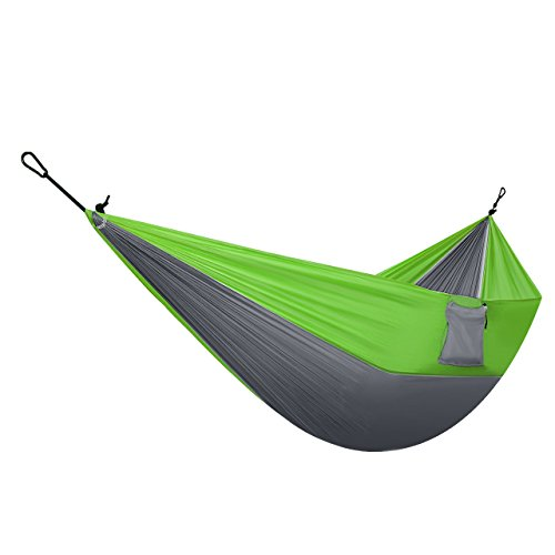 Homitt 2 Person Outdoor Camping Hammock Set with 2M / 6.56FT Hammock Tree Ropes & 2 Solid Carabiners for Travelling, Hiking, Backpacking, Motorcycle Trips, Beach or Mountain – Green & Grey Image