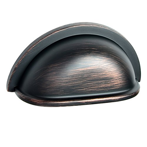 - South Main Hardware SH-3880-OR-10 10 Pack, Traditional Bin Cup Drawer Handle Pull, 3 inch Center To Center, 3.4 inch Length, Oil Rubbed Bronze Finish