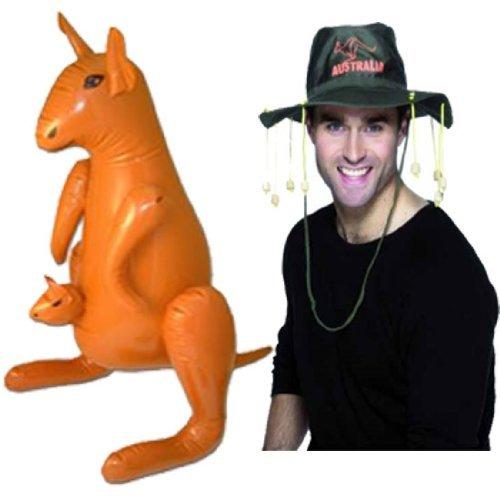 Australian Hat & Inflatable Kangaroo Fancy Dress Kit! by Parties (Australian Hat With Corks)