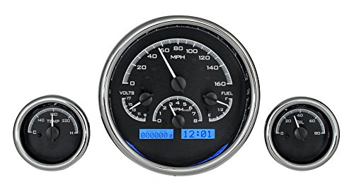 Universal 3 Triple Round Analog Dash Gauges Black Alloy / Blue Display VHX-1013-K-B