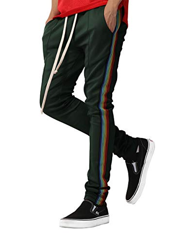 (Mens Stripe Track Three Tone Pants Skinny Fit Stretch Casual Athletic Joggers (Small, P126Z1_Hunter Green))