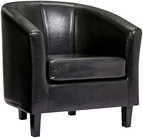 Red Hook Galia Faux-Leather Upholstered Accent Tub Chair - Midnight Black