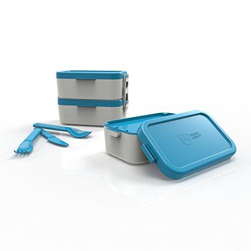 Bento Box Dupla Tampa Primacor Anodilar Azul Polipropileno