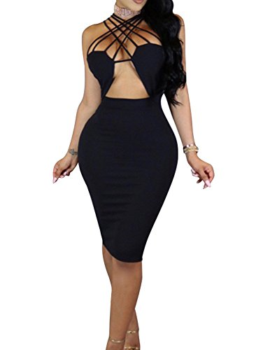 TOB Women's Sexy Sleeveless Lace Up Hollow Out Bodycon Club Midi Dress Black