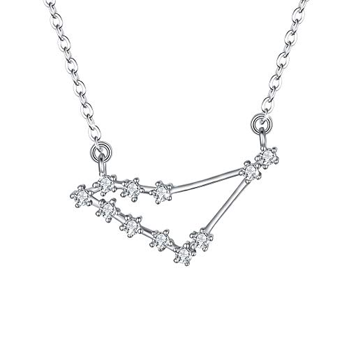 BriLove 925 Sterling Silver Necklace for Women - Capricorn Constellation Necklace Zodiac 12 Horoscope Astrology CZ Pendant Necklace Birthday Gift Clear