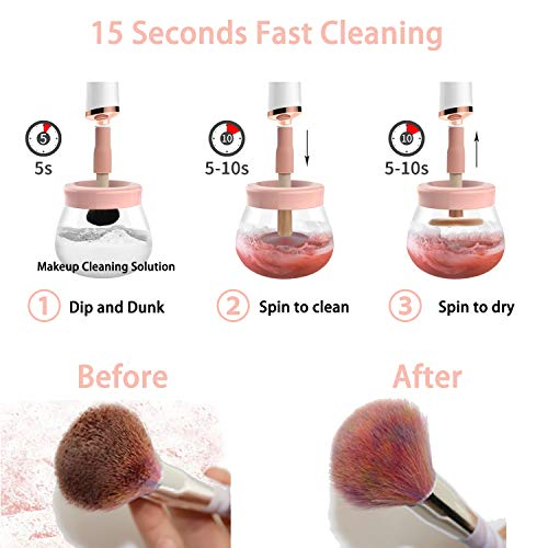 【Upgraded】Makeup Brush Cleaner, Electric Make Up Spinning Dryer, with 8 Sizes of Rubber Collars, Super-Fast Automatic Spinner Machine, Battery Operated, Pink