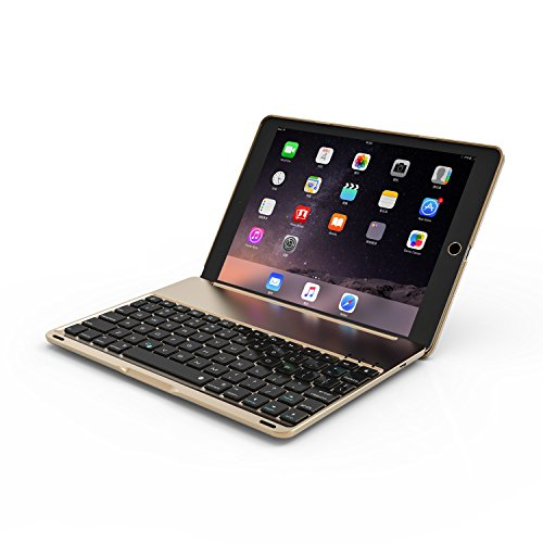 SODIAL Golden Flip For iPad 9.7 inch backlit aluminum alloy Bluetooth keyboard by SODIAL (Image #2)