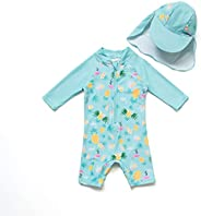 BONVERANO Baby Boys Sunsuit UPF 50+ Sun Protection Long Sleeve One Piece Swimsuit with Zipper