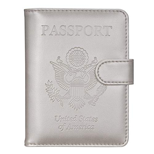 Passport Holder Travel Cover Case - HOTCOOL Leather RFID Blocking Wallet For Passport, Grey (Magnetic)