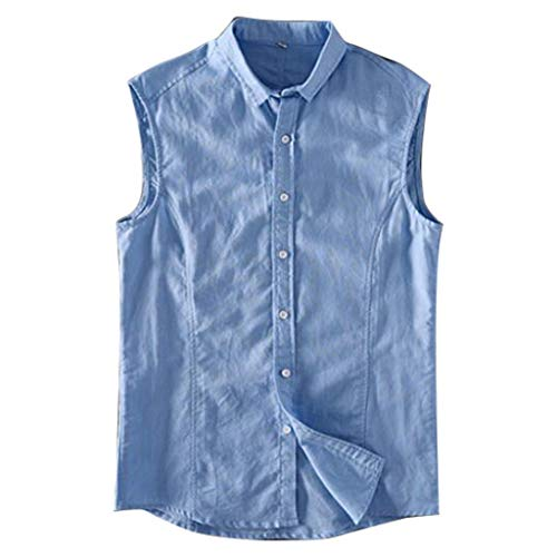 (Cotton Linen Shirts for Men Sleeveless Button Down Stand Collar Baggay Comfortable Blouse Top Blue )