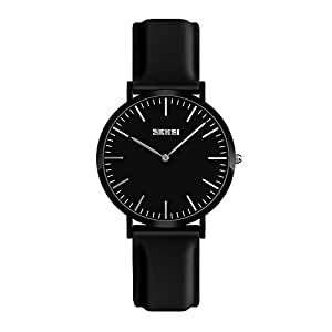Waterproof Watch Women, Analog Quartz Dress Watch with White Black/Red/Purple/Red/Gold Leather/Silicone Strap, Fashion Simple Watches