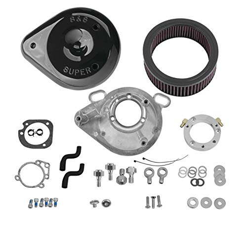 - S&S Cycle Teardrop Air Cleaner Kit Stock EFI - Gloss Black Compatible for Harley-Davidson FLST 01-07