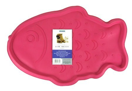 Rosewood Rubber Place Mat For Cats Pink Fish [18793] by Rose&Wood (Image #1)