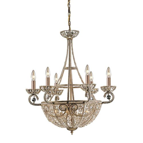 Elk Lighting 5967/6+4 10 Light Chandelier, Dark Bronze Dark Bronze Elizabethan Crystal