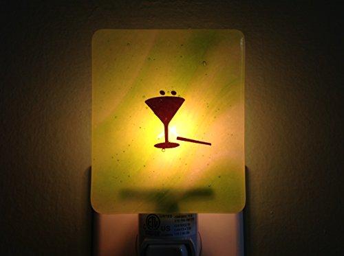 Martini Fused Glass Bar Night Light