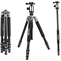 ZOMEi Z818 Aluminium Alloy 65 Inch Camera Tripod and Monopod with 360 Degree Quick Release Ball Head and Carrying Case (Silver Grey)