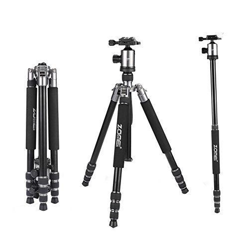 ZOMEi Z818 Aluminium Alloy 65 Inch Camera Tripod and Monopod with 360 Degree Quick Release Ball Head and Carrying Case (Silver Grey) by ZOMEI