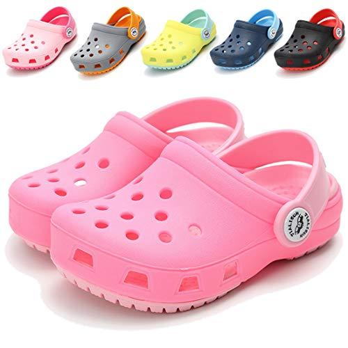 COSANKIM Toddler Kids Boys Girls Classic Clogs Lightweight Summer Water Garden Shoes Slides Sandals Slip On Beach Slippers(Toddler/Little Kids) (7.5 M US Toddler, B-Pink Clogs Kids