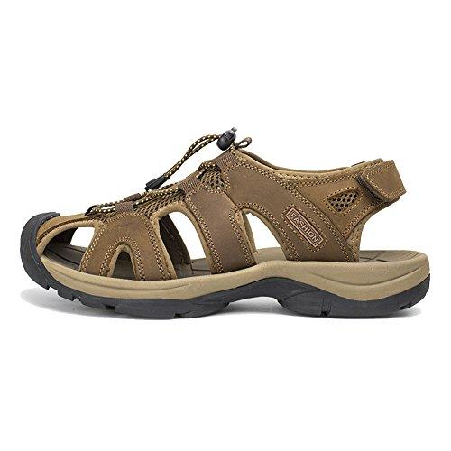 Agowoo Menns Lær Gummi Utendørs Strand Fotturer Sandaler Khaki